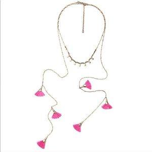 Jewelry - 💎Versatile Pink Tassel Boho Earrings Necklace Set
